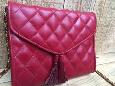 Vintage Austin Designs, Made in Korea, Red Leather Quilted Purse, Red Leather Crossbody Handbag by BeCreative2 on Etsy