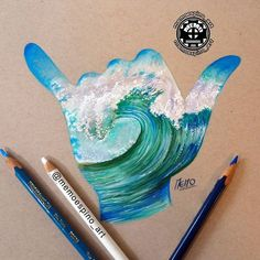 One of my fav drawings I've done. I will post a few new drawings in the next couple of days! Thanks for reliking my old pictures! Colored pencils on toned tan paper. #shaka #hangloose #hawaii #drawing #prismacolor #strathmore #art #coloredpencil #wave
