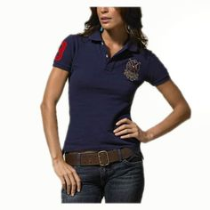 Ralph Lauren Womens Durable Cotton Short-sleeved Polo Navy