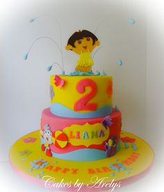 A Dora the explorer cake - A Dora theme cake for a pool party birthday. Cake is Kahlua filled with Baileys buttercream and covered in fondant with all fondant handmade decorations. 2 Birthday Cake, 3rd Birthday Parties, Fondant Cakes, Cupcake Cakes, Dora Cake, Dora The Explorer, Girl Cakes, Childrens Party, Celebration Cakes