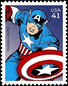 Marvel comic superhero Captain America on a USPS stamp. He hopes that a super serum gets developed in his lifetime. Marvel Comics Superheroes, Marvel Characters, Batman, Superman, Comic Books Art, Comic Art, Book Art, Captain America Art, Jack Kirby