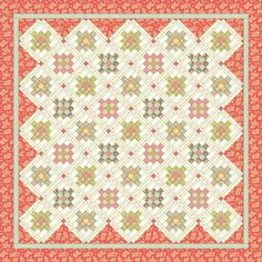 "Pattern: Strawberries ' n Cream by Mountain Rose designs, 78-1/2"" x 78-1/2"". Uses fat eighth bundle for blocks + cornerstones, 2,5 yds background fabric for blocks + block sashing, 1-1/8 yards fabric for main sashing, 2 yards fabric for inner border ? 2-1/4 yards fabric for outer border ?"