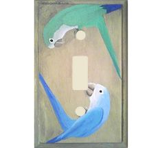 Playing Parrots Switchplate Cover - Single from Birdbrain Gifts $21.95