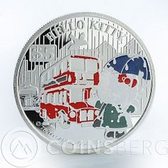 Cook Islands 5 dollars Hello Kitty London Bus silver coin 2009