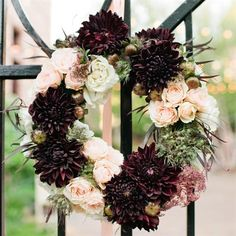 Rose and Dahlia Floral Wreath- dark red, light pink, sage green