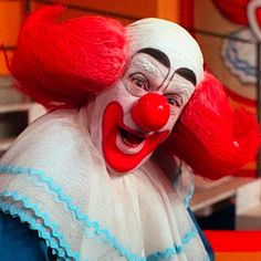 Bozo The Clown:   .  I'm sorry but Stephen King had to be watching old episodes of Bozo the Clown when he wrote the book It featuring Pennywise the clown because they look exactly the same, which is to say they look scary as hell. FUN FACTS: There was a ten year wait for tickets to the Bozo the Clown show and Ronald McDonald was adapted from Bozo. Bozo is considered the most famous clown ever.    Photo Credit: allgeektome.com