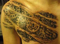 mechanical shoulder tattoo.  I like the added keyhole.