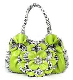 Lime Green Leopard Flower Rhinestone Fashion Handbag