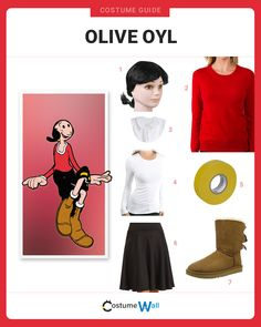 The best costume guide for dressing up like Olive Oyl, the companion of Popeye the Sailor man that first appeared in a 1919 comic strip.