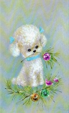 Vintage Christmas card with a little bichon frise or poodle.