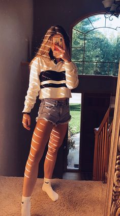 <harper's outfit inspo Cute Lazy Outfits, Casual School Outfits, Trendy Summer Outfits, Teenage Girl Outfits, Teen Fashion Outfits, Retro Outfits, Girly Outfits, Stylish Outfits, Simple Outfits For Teens