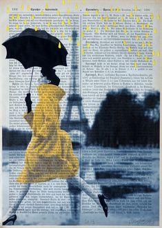 """Yellow Rain"" - Mixed Media on antique magazine page by ©artretro (via Etsy)"