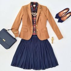 Camel blazer, plaid shoes, navy skirt