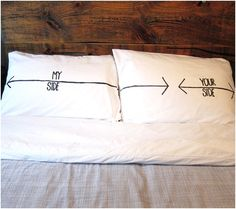 Add some humour to your bedroom with these DIY his and her pillowcases!   It's pretty much the opposite of that. I get a foot to sleep and he gets the rest of the bed