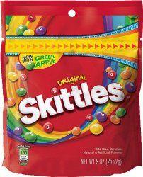 Skittles Original Candy, 9 Ounce http://www.amazon.com/gp/product/B00E1EK81W/ref=as_li_qf_sp_asin_il_tl?ie=UTF8&camp=1789&creative=9325&creativeASIN=B00E1EK81W&linkCode=as2&tag=woodetoys-20&linkId=ZPNWIW52I5KTHXB7