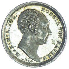 Miniaturmedaille 1824 Augsburg Silber, Med: Neuss, Zur ersehnten Ankunft in Augsburg am 31. Iul. 1824, Av: Büste des Königs nach rechts, Rv: sieben Zeilen Schrift