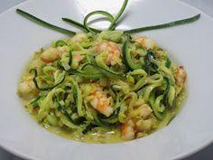 Espaguetis de calabacin con langostinos