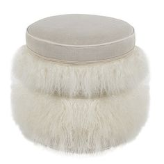 Cecil Tibetan Lamb & Linen Pouf Ottoman - White | Scenario Home