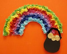 Easy Tissue Paper Rainbow and pot of Gold for 1st and 2nd grade classes. St. Patrick's day celebration art.