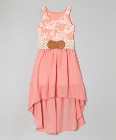 Loving this Coral Floral Belted Hi-Low Dress - Girls on #zulily! #zulilyfinds