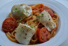 Rødtungeruller med pasta