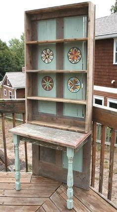27 Best Ideas Old Door Desk Shelves Old Door Desk, Old Door Bench, Old Wood Doors, Antique Doors, Old Door Projects, Furniture Projects, Furniture Makeover, Diy Furniture, Primitive Furniture