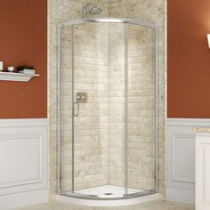 Kinda like the look of a round glass corner shower. DreamLine, Solo 36 in. x 36 in. Sliding Shower Enclosure in Chrome with Quarter Round Shower Base, at The Home Depot - Mobile Bathtub Enclosures, Frameless Shower Enclosures, Corner Shower Kits, Corner Showers, Acrylic Shower Base, Dreamline Shower, Neo Angle Shower, Toilet Storage, Bathroom Storage
