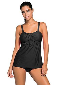 8744f673576e71 Aleumdr Women's Stylish 2pcs Swing Tankini Triangle Briefs Swimsuit