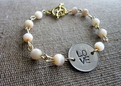 LOVE stamped coin rosary bracelet