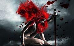 sexy warrior girl red hair hd wallpaper