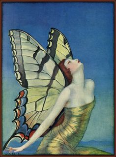 """""""Butterfly"""" by Wladyslaw T. Benda.  Featured on the 1923 cover of Life magazine."""