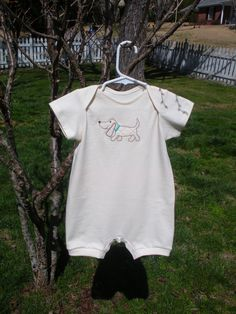 Organic Cotton Baby Romper with Embroidered Dog. $24.00, via Etsy.
