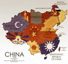 Alternate World Map by on DeviantArt - Alternate Map of China in 1929 by - Alternate Worlds, Alternate History, Deviantart, Imaginary Maps, China Map, World Map Poster, World Geography, Fantasy Map, Old Maps