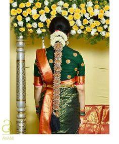 Bridal Hairstyle Indian Wedding, Indian Bridal Hairstyles, Unique Hairstyles, Bride Hairstyles, Hair Upstyles, Indian Bridal Lehenga, Work Blouse, Hair Ornaments, Blouse Designs