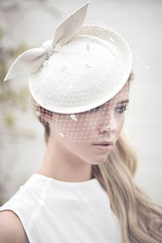 Wedding Veil Hat Bow Felt Hat Off White by MaggieMowbrayBRIDAL