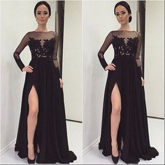 A-line Black lace long sleeve Slit prom dress,lace see-through long evening dress,prom dress 2017,Sexy prom dresses,long prom dress