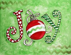Christmas JOY canvas painting for parties. #socialartworking