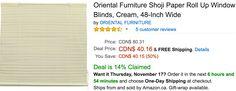 Amazon Canada Black Friday Deals: Save 50% On Oriental Furniture Shoji Paper Roll Up Window Blinds Cream 48-In... http://www.lavahotdeals.com/ca/cheap/amazon-canada-black-friday-deals-save-50-oriental/139022?utm_source=pinterest&utm_medium=rss&utm_campaign=at_lavahotdeals