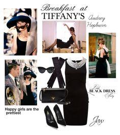 """Breakfast at Tiffany's - Audrey Hepburn"" by jordanwoodd ❤ liked on Polyvore featuring Tiffany & Co., Forever New, Prada, audreyhepburn and breakfastattiffanys"
