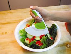 Chop salad ingredients with ease, even while already in the bowl! So much easier.
