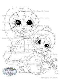 INSTANT DOWNLOAD Digital Digi Stamps Big Eye Big Head Dolls Digi  My - Besties  Winter Wonderland Reindeer Ride ImgA1 By Sherri Baldy