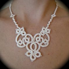 Tatted Lace Necklace The Bride's Garden by TotusMel on Etsy