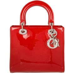 Christian Dior Handle Bag - Lady Dior Medium Patent Tote Rouge - in... (11.775 BRL) ❤ liked on Polyvore featuring bags, handbags, tote bags, purses, red, zip tote, zipper tote, red hand bags, red handbags and red patent leather purse