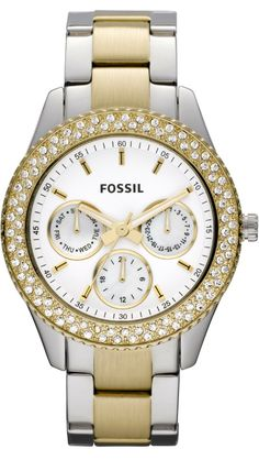 #Fossil Women's ES2944 Two Tone Stainless Steel Analog with Silver Dial #Watch