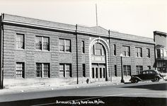 Big Rapids MI late 1930s view of the Mecosta County Big Rapids Military Armory RPPC by UpNorth Memories - Donald (Don) Harrison, via Flickr