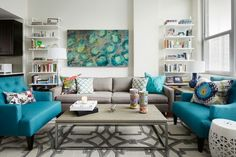 """#TealAccents #homedecor @homepolish  """"Try starting with a neutral foundation and choosing a few colors that work well together. Then use each color a couple of times throughout the space; both in a large scale and small scale pattern. When each color is introduced in multiple ways, it creates a balance, making the room feel intentional."""""""