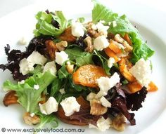 roasted sweet potato (yams), fet and walnut salad. Delicious served with sourdough bread.
