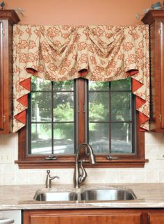 Idea for curtains for kitchen window, breakfast room and living room bay windows