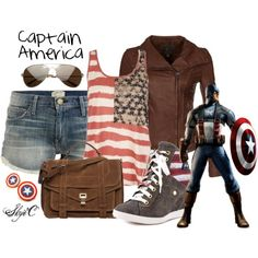 Love this Steve Rogers/Captain America inspired outfit. So cute except the shoes! Maybe you could get flag converse's