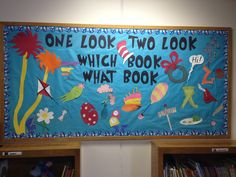Our St. John's Library Dr. Seuss bulletin board. Each picture represents a different Dr. Seuss book. There are 21 of them! Students that identify them all win a prize!
